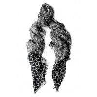 Geometric Challis Black and White Print Scarf