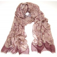 Paisley Print with Border Wine & Camel Scarf