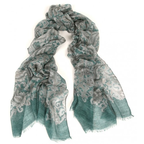 Paisley Print with Border Teal Blue & Camel Scarf