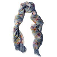 Silk Chiffon Abstract Paisley Print Light Turquoise Multicolored Scarf
