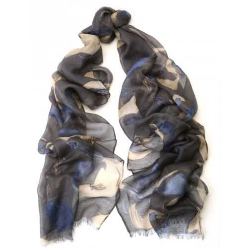 Abstract Print Charcoal Grey Scarf