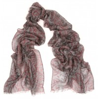Abstract Print 2 Charcoal & Red Scarf