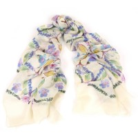 Pansies and Lavender Iris and Ivory Scarf