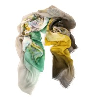 Millefleurs Degrade Border Silk Gauze Pastel Green Scarf
