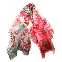 Wildflowers With Degrade Border Print Pink- Green Scarf