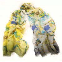 Wildflowers With Degrade Border Print Blue-Yellow Scarf