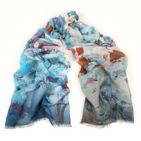 Wildflowers With Degrade Border Print Blue-Red Scarf