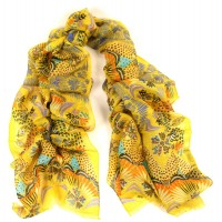 Island Print Bright Yellow Scarf