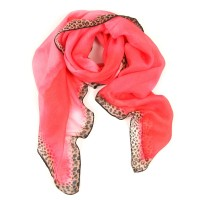 Large Solid Square with Leopard Border Printed Fuscia Scarf