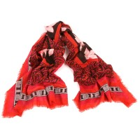 Big Flower Print with Embroidery Red Black Scarf