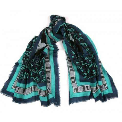 Big Flower Print with Embroidery Blue Green Scarf