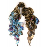 Camoflauge and Flower Bias Cut Print Blue Scarf