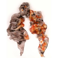 Camoflauge and Flower Bias Cut Print Orange Scarf