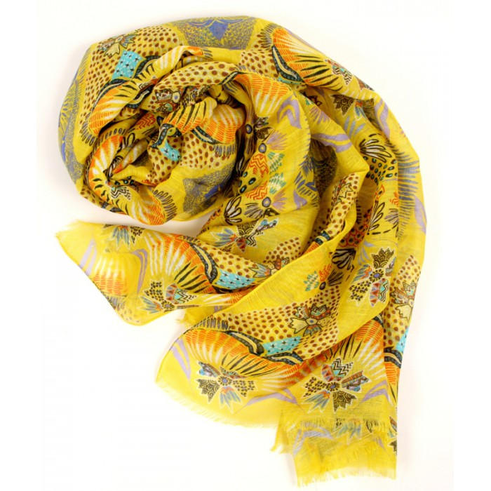 island print bright yellow scarf