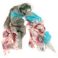 Bright Flower Print Turquoise Scarf