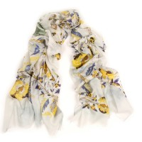 Retro flower print Iris & Yellow Scarf