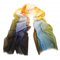 Shaded Spring Print Orange, Blue & Lime Scarf