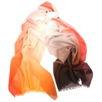 Shaded Spring Print Coral Tangerine & Nut Scarf