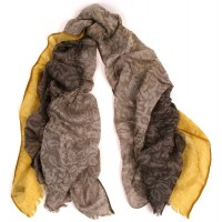 Colorbloc Crinkle Jacquard Print Grey & Ochre Scarf
