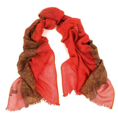 Colorbloc Crinkle Jacquard Orange, Red & Yellow Scarf