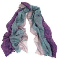 Colorbloc Crinkle Jacquard Print Turquoise & Lavender Scarf