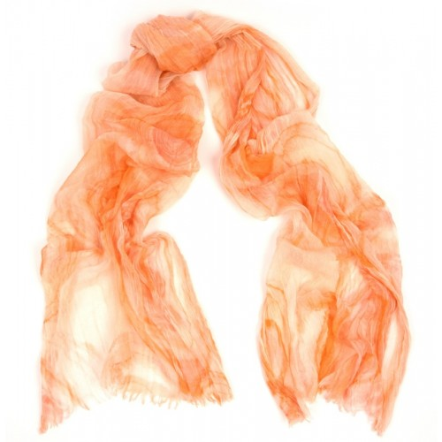 Swirl Print Cotton Gauze Light Orange Scarf