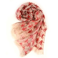 Geometric Cube Print Red Scarf