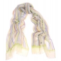 Cotton Gauze Crinkle Check Print Lime & Lavender Scarf