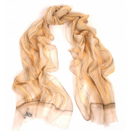 Cotton Gauze Crinkle Check Print Natural Scarf